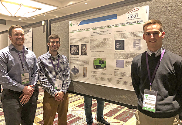 From left, Austin Braden, Hunter Lorbiecki and Jacob Malinowski present their Bio-Tray research project,