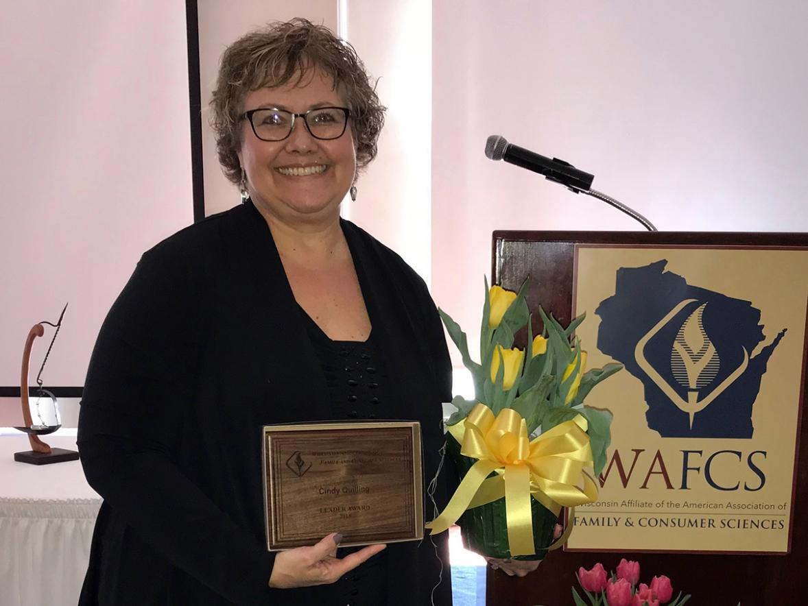 Cindy Quilling, UW-Stout student teacher supervisor in the areas of family and consumer sciences and health, received the 2018 Leader of the Year by the Wisconsin Association of Family and Consumer Sciences.