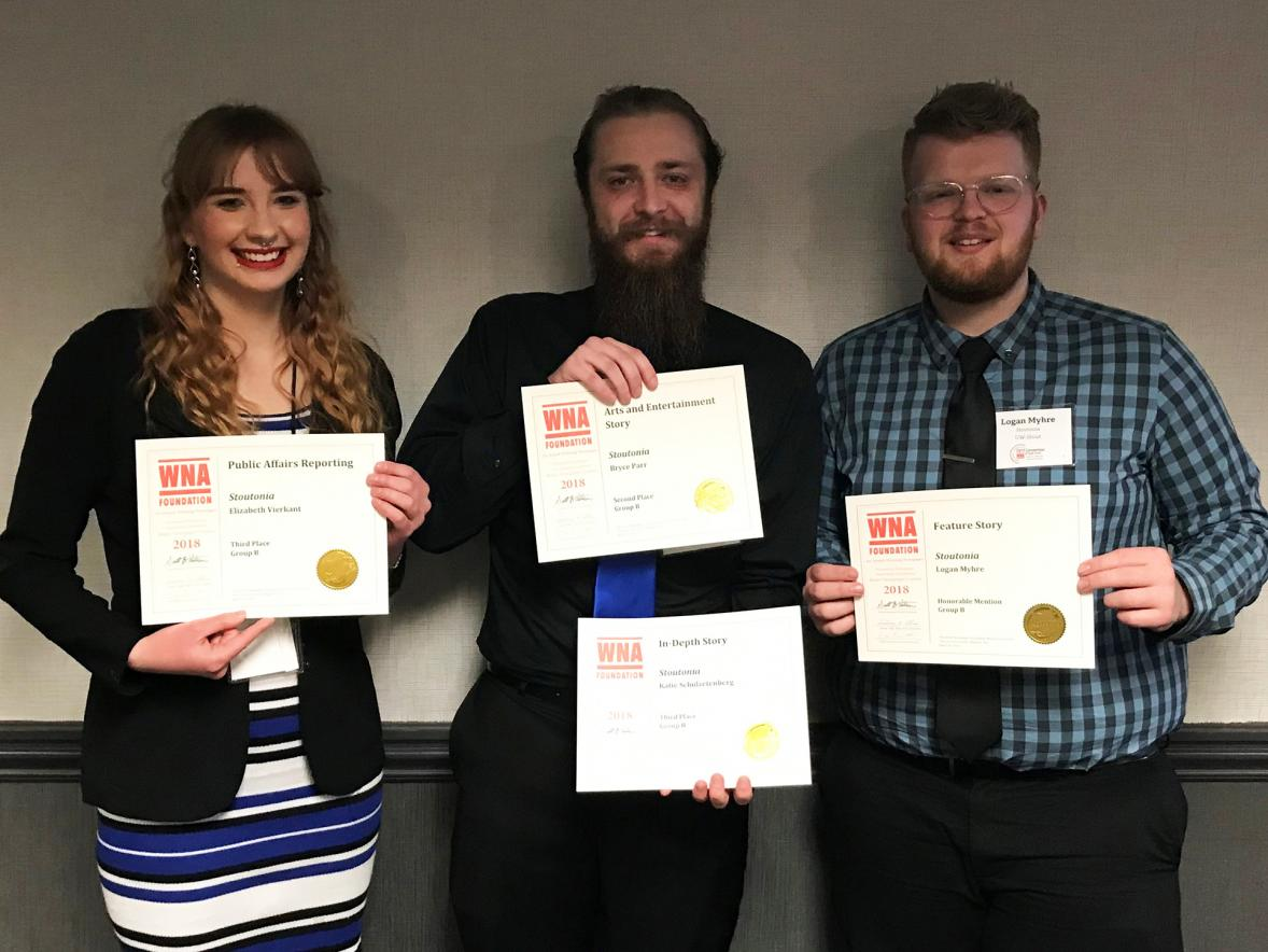 From left, Stoutonia staff members Elizabeth Vierkant, Bryce Parr and Logan Myhre celebrate with their Wisconsin Newspaper Association awards.