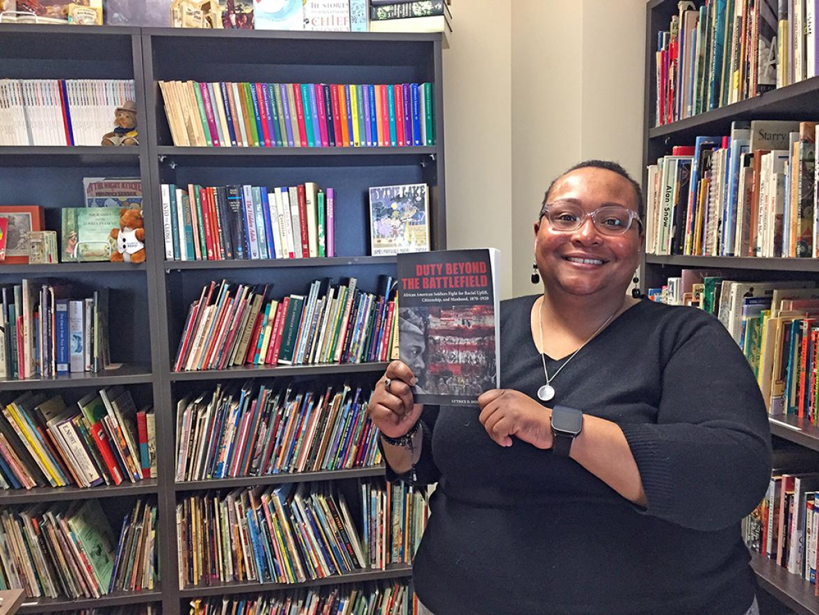 "Le'Trice Donaldson, UW-Stout assistant professor of history, recently published the book ""Duty Beyond the Battlefield: African American Soldiers Fight for Racial Uplift, Citizenship, and Manhood, 1870-1920."""