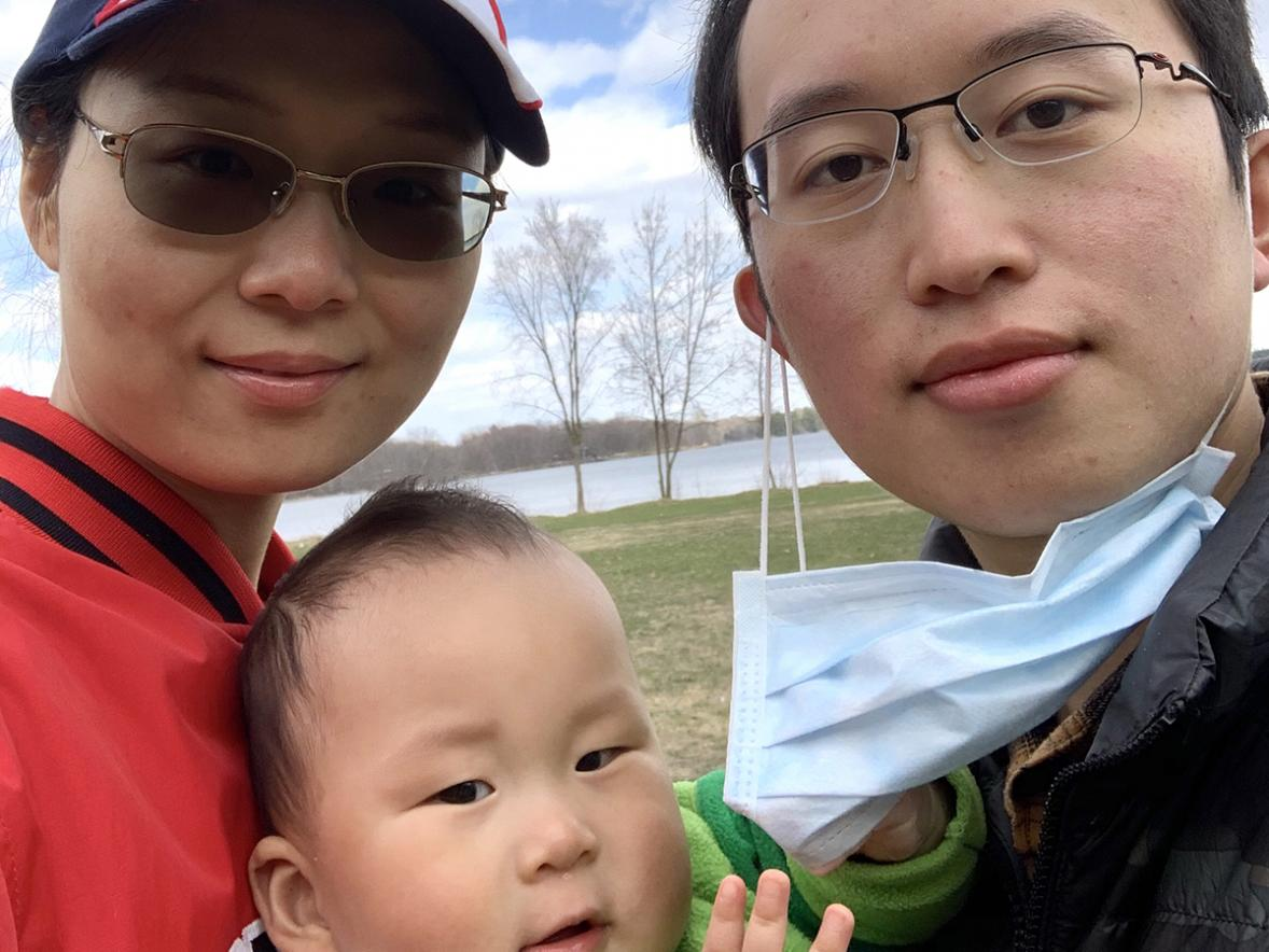 Liang Wu with his wife, Jue, and son, Aaron.