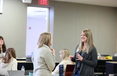 Online students attend a Succeeding in the BS in Management Program seminar.