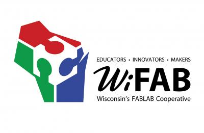 WiFAB logo with red, green and blue design of Wisconsin.