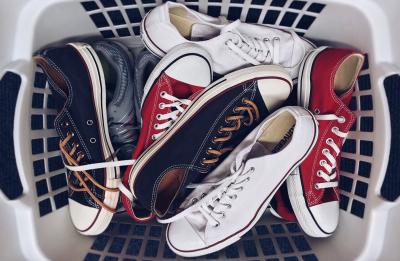 Basket of sneakers.